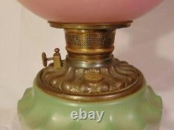 Victorian Gone with Wind Parlor Banquet Oil Lamp Pink Green Flowers GWTW Violets