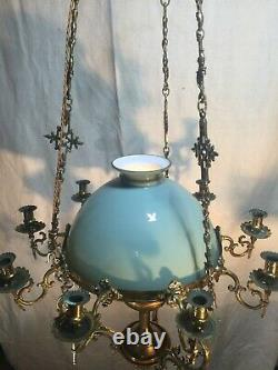 Victorian Hanging Oil Lamp Chandelier Converted to Electric