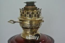 Victorian Harrods cranberry glass cast iron Aesthetic movement oil lamp 1883 TRS