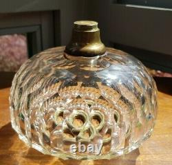 Victorian Heavy Hinks Facet Cut Glass Oil Lamp Font bayonet collar 23mm fit A1