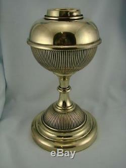 Victorian Hinks Brass Oil Lamp Base & Font, Fine Ribbed Decoration, Bayonet Fit