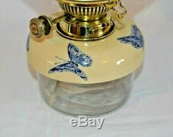 Victorian Hinks Duplex Oil Lamp. Blue & White Taylor Tunnicliffe Ceramic Base