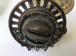 Victorian Hinks Milk Glass Oil Lamp Hinks Duplex Burner, Hinks Font No. 1823