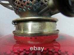 Victorian Hinks Son Duplex Brass Cranberry Ruby Glass Oil Lamp Wall Sconce PAIR