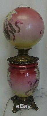 Victorian Hurricane Lamp Wind Banquet Oil Kerosene Lamp Converted to Electric