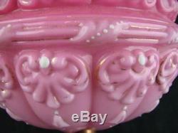 Victorian Large Moulded & Enamel Pink Glass Oil Lamp Font, Art Nouveau Design