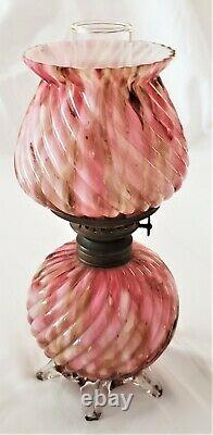 Victorian Miniature Ribbed Swirl Spatter End of Day Glass Oil Lamp Applied Base