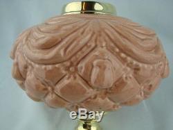Victorian Moulded Peach Pink Oil Lamp Font, Art Nouveau Decoration