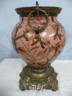 Victorian Oil Lamp, Gilt Enamel Porcelain, Bird Design, Bronze Base & Mounts