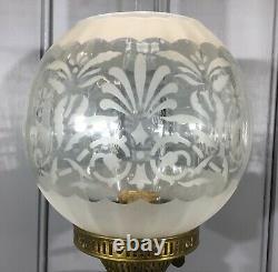Victorian Oil Lamp Green Glass Font Pyramid Shaped Lamp Base