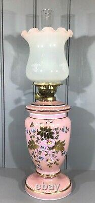 Victorian Oil Lamp Opaque Pink Hand Painted Glass Drop-in Font