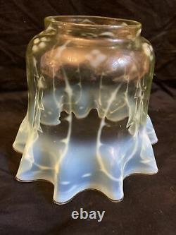 Victorian Oil Lamp Shade Vaseline Uranium Glass 4 Inch Base Hole