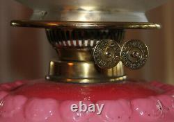 Victorian Oil Lamp with Glass Font Embossed with Pretty Floral & Foliage Design