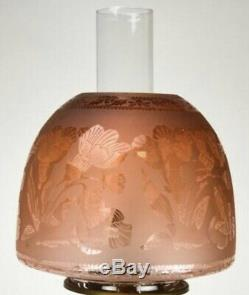 Victorian Orange Acid Etched Glass Beehive Oil Lamp Shade