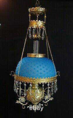 Victorian Parker Hanging Library Oil Lamp Satin Blue Glass Hobnail Shade Antique