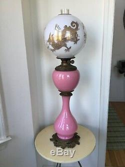 Victorian Pink Cased Glass Ornate Oil Banquet GWTW Lamp