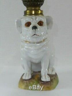 Victorian Porcelain Dog Nursery Miniature Oil Lamp