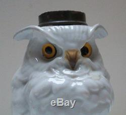 Victorian Porcelain Nursery Owl Oil Lamp Base
