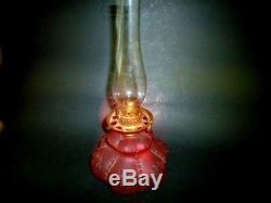 Victorian RUBY SATIN GLASS miniature OIL LAMP 7 3/4 P&A Co. Burner