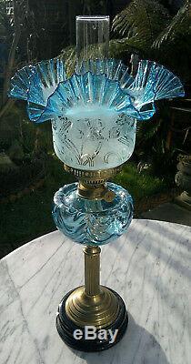 Victorian Style Blue Glass Oil Lamp Duplex Twin Burner 24 Tall