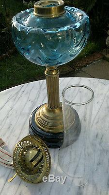 Victorian Style Blue Glass Oil Lamp Duplex Twin Burner 24 Tall