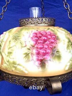 Victorian Style Hanging Lamp Dillard M Smith Raised Grapes 14 Same As Oil Types