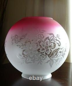 Victorian Style Ruby Cranberry Glass Globe Oil Lamp Shade with Floral Motif