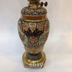 Victorian Taylor Tunnicliffe Imari Oil Lamp Hinks Messenger Burner LARGE