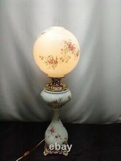 Victorian Three 3 Tier Banquet Oil Lamp Hand Stenciled GWTW Roses Daisies