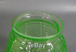 Victorian Uranium Vaseline Green Glass Ruffled Fluted Oil Lamp Light Shade 4