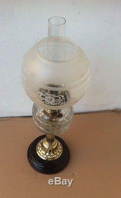 Victorian Veritas Cut Glass & Brass Oil Lamp With Twin Burners, Shade & Chimney