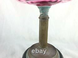 Victorian Veritas Lamp Works Cranberry Glass Bowl, White Shade And Flute