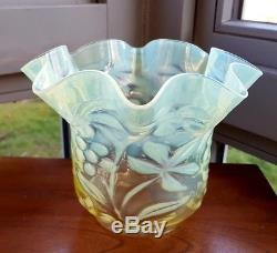 Victorian Yellow & Green Opalescent Vaseline Powell Glass Oil Lamp Flora Shade A