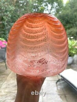 Victorian acid etched beehive orange peach oil lamp shade