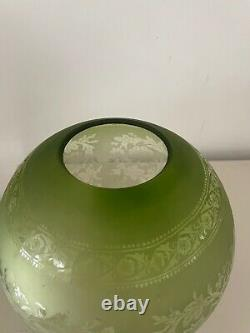 Victorian acid etched green round oil lamp shade
