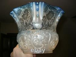 Victorian blue oil lamp shade