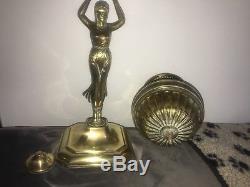 Victorian brass neo classical figural oil lamp duplex burner