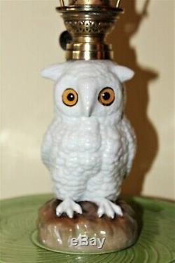 Victorian ceramic owl oil lamp