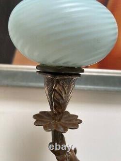 Victorian griffin oil lamp blue wrythen font