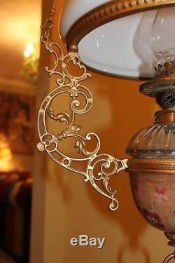Victorian hanging adjustable oil lamp