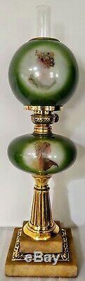 Victorian medium size oil lamp, complete working, no damage, P & A Victor burner