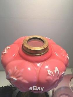 Victorian opaque pink glass and brass oil lamp