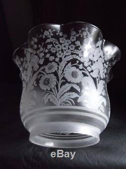 Victorian signed Saint Louis Glass Crystal Duplex Oil Lamp Shade. 4 fit