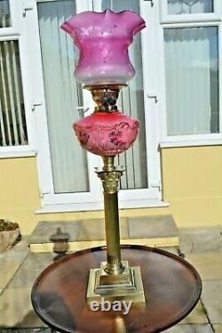 Victorian twin burner oil lamp Cranberry pink floral font no damage