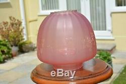 Victorian twin burner oil lamp. Pink floral font later cranberry shade u/k buyer