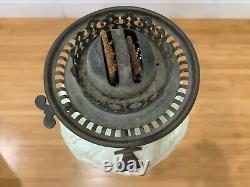 Vintage Antique Black Painted Cast Iron & Glass Large Oil Lamp Shell Decoration
