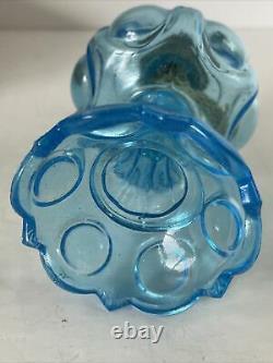 Vintage Antique Blue Glass Bullseye Daisy Miniature Oil Kerosene Hurricane Lamp