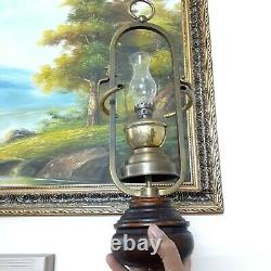 Vintage Antique -Oil Lamp Victorian Brass & Wood Hanging Home Working Decorative