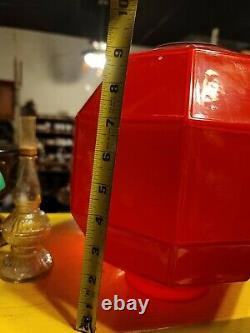 Vintage Antique Red Glass Octagon Shaped Oil Lamp Shade