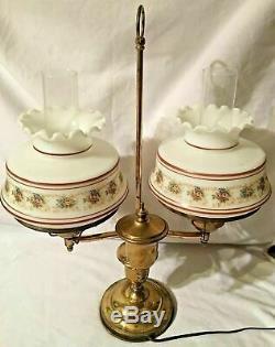 Vintage Antique Victorian Brass & Floral Double Student Oil Lamp Hurricane Glass